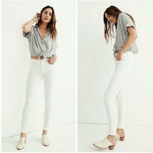 "Madewell TALL 9"" High Rise Skinny Jeans Pure White"